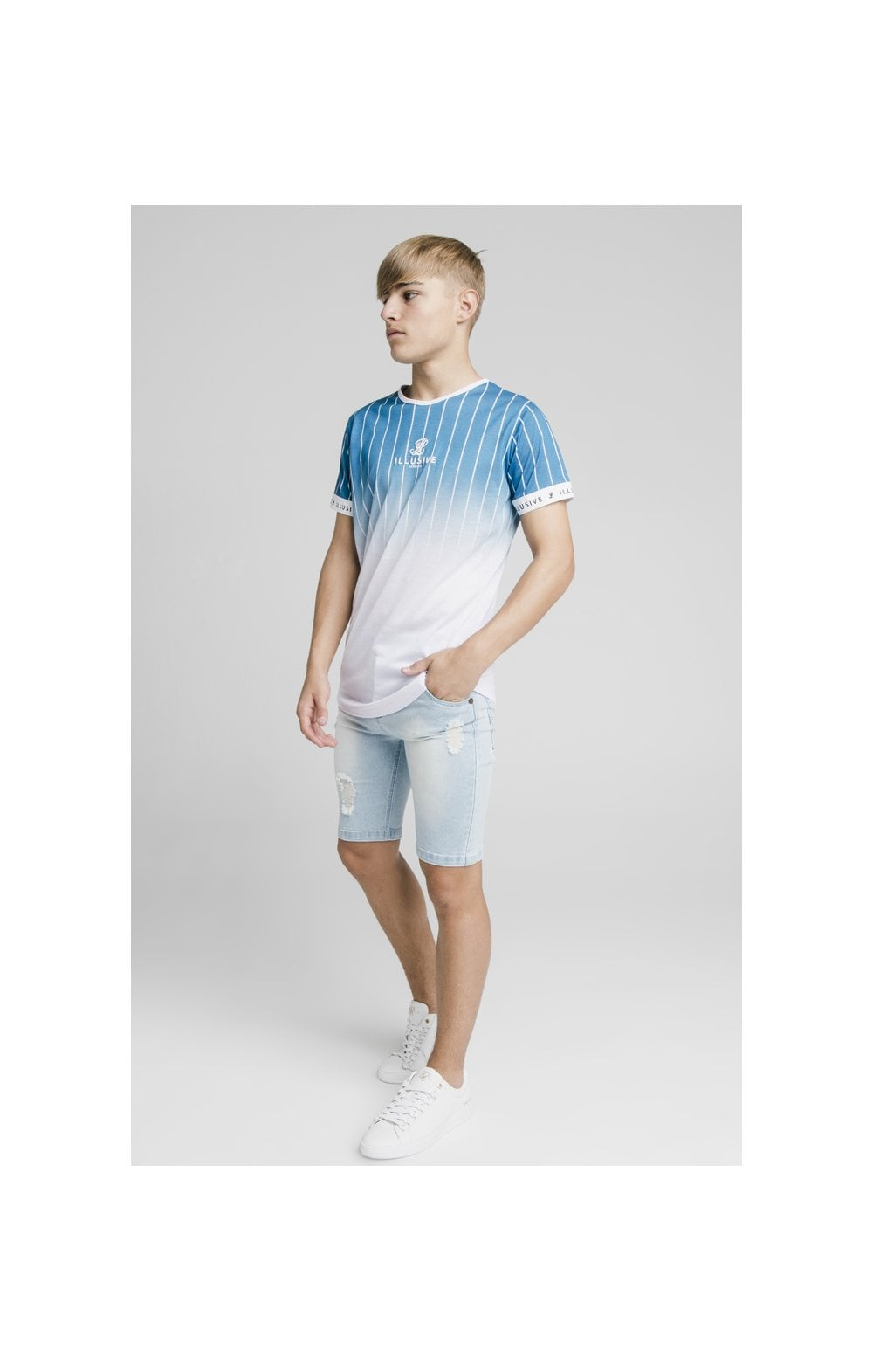 Load image into Gallery viewer, Illusive London Distressed Denim Shorts - Light Blue (6)
