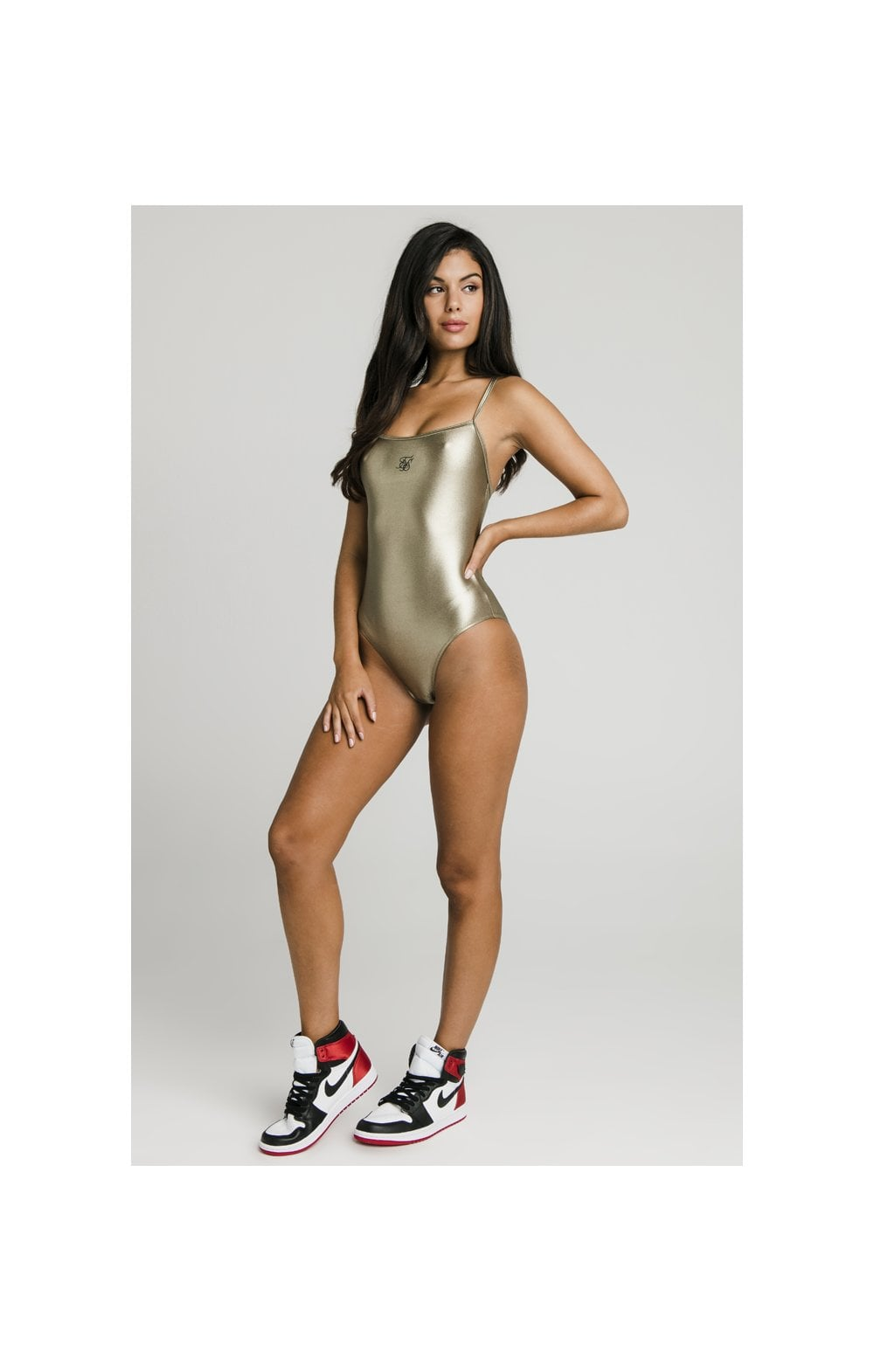 Load image into Gallery viewer, SikSilk Metalic Swimsuit - Gold (3)