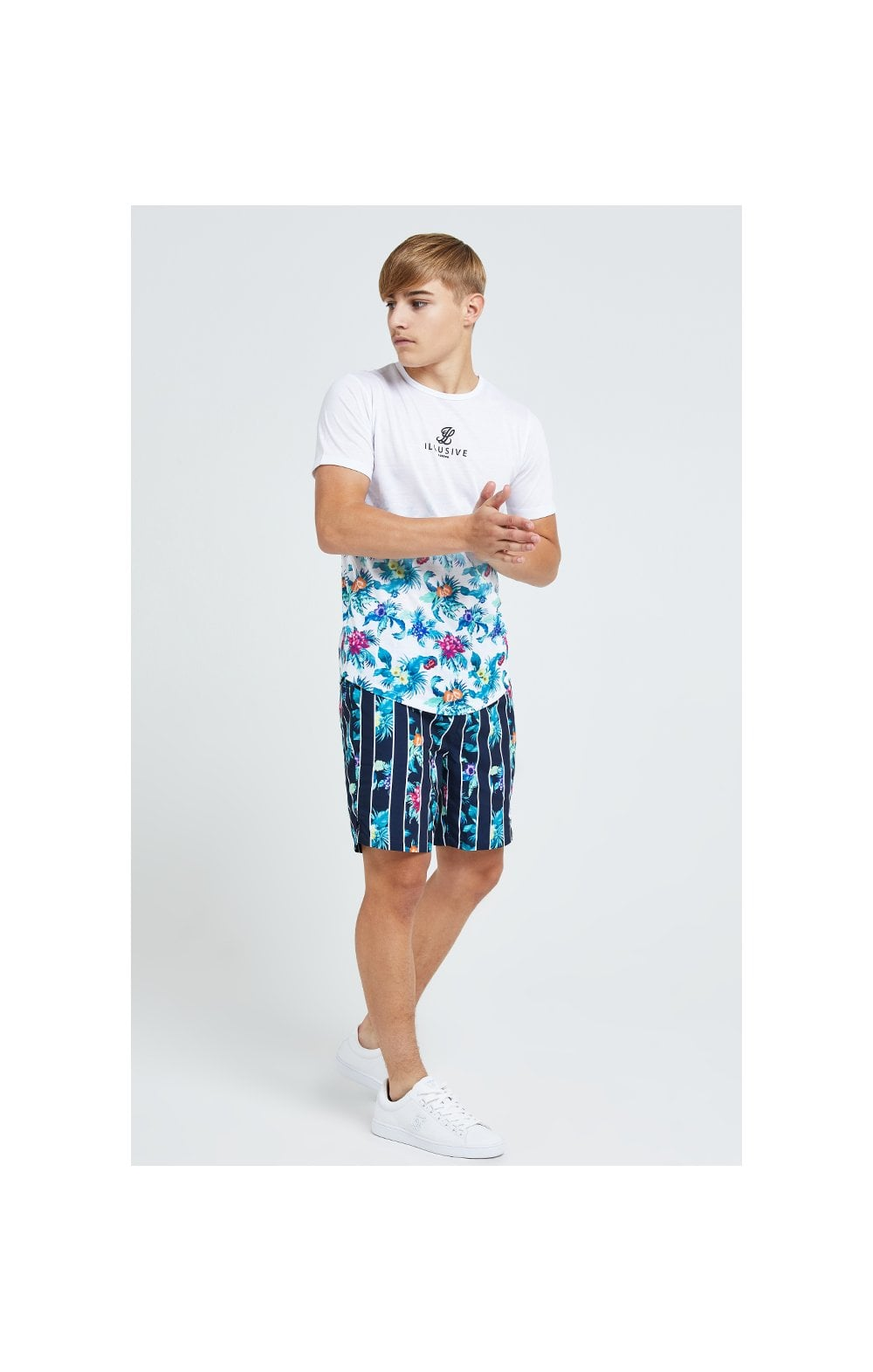 Illusive London Floral Stripe Swim Shorts - Navy & Floral (4)