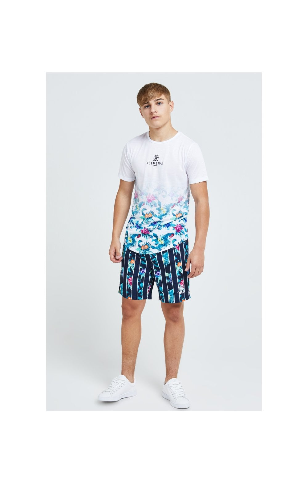 Illusive London Floral Stripe Swim Shorts - Navy & Floral (5)