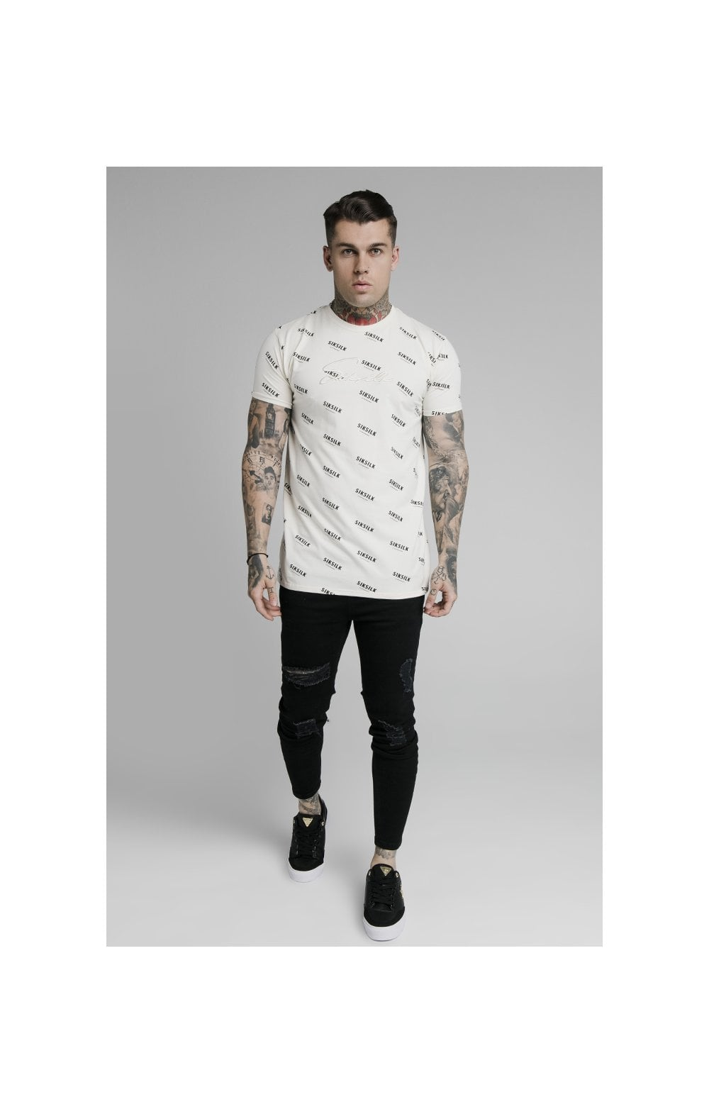 Load image into Gallery viewer, SikSilk Repeat Print Box Tee - Off White (3)