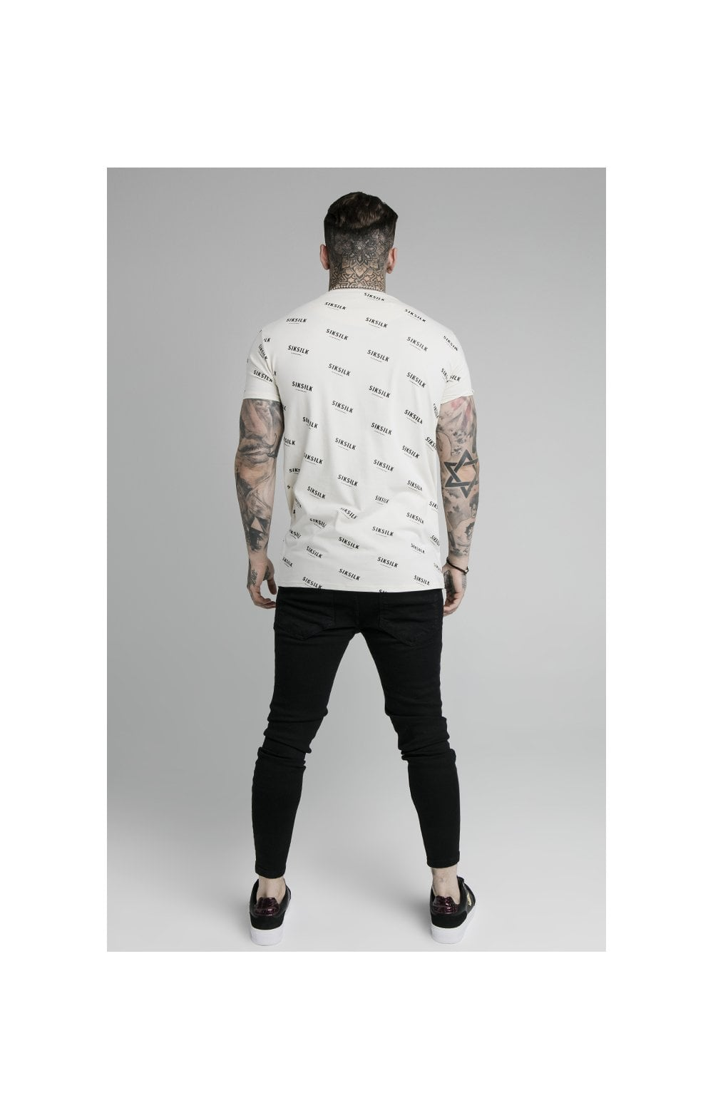 SikSilk Repeat Print Box Tee - Off White (4)