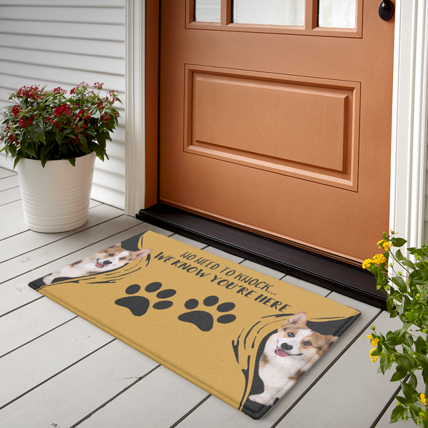 Custom Funny Photo Doormat-No Need To Knock