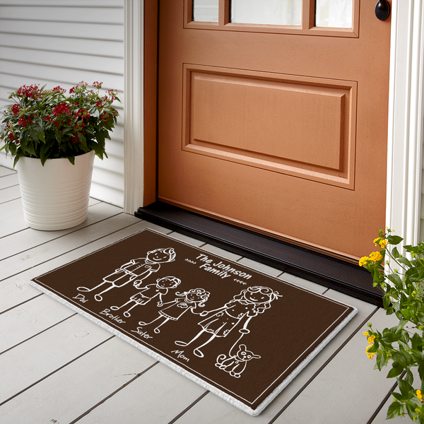 Custom Family Name Doormat-Happy Family of 5 Brown Doormat