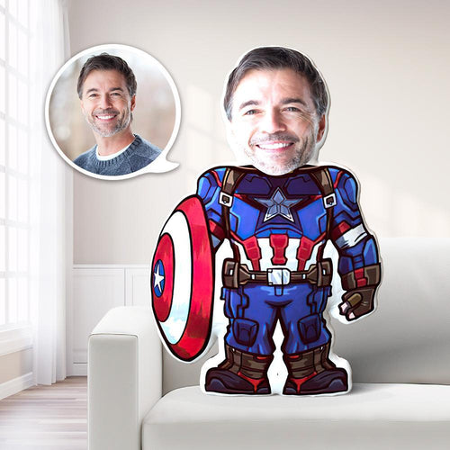 Personalized Photo My Face Pillow Custom Face Pillow Captain America Pillow Unique Gift