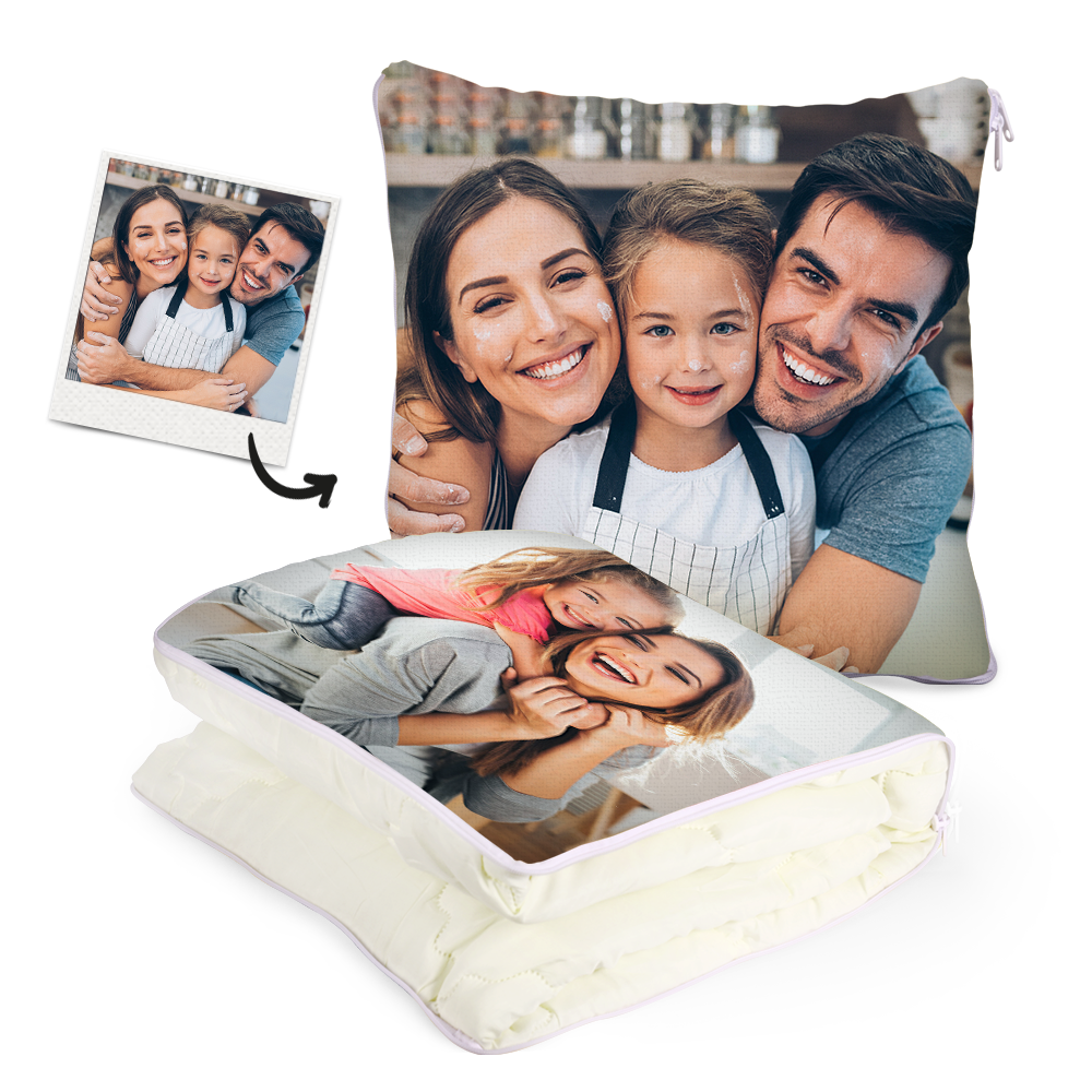 Custom Family Photo Quillow - Multifuctional Throw Pillow and Quilt 2 in 1 - 47.25