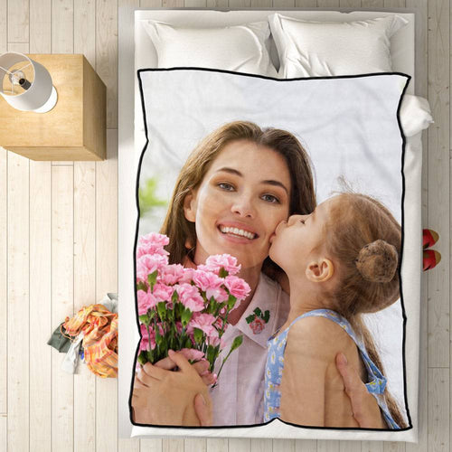 Personalized Fleece Blanket with Photo of Mother and Daughter