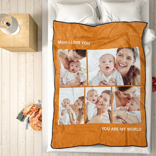 Custom Photo Fleece Blanket Love Family