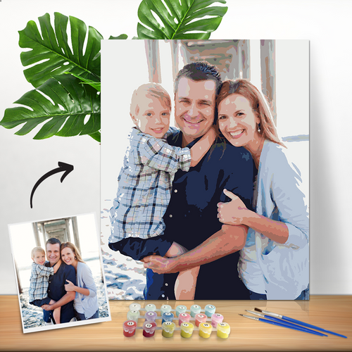 DIY Paint by Numbers, Custom Family Photo Wall Decor Oil Painting Canvas, Light Colored Canvas