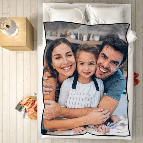Personalized Fleece Blanket with Photo of Family