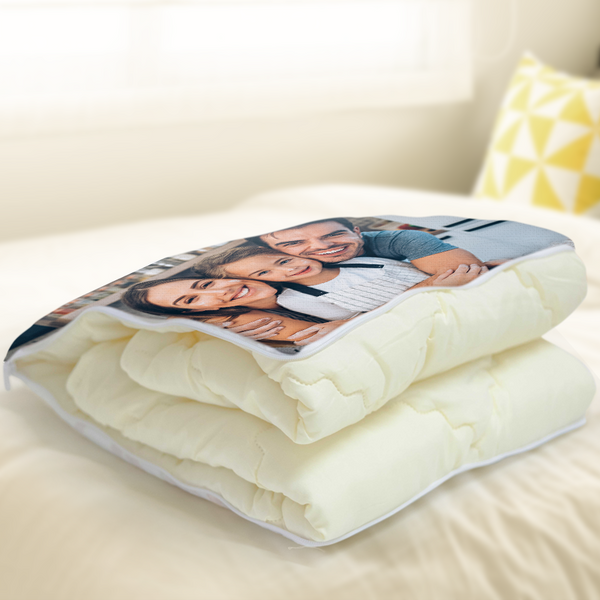 "Custom Family Photo Quillow - Multifuctional Throw Pillow and Quilt 2 in 1 - 47.25""x55.10"""