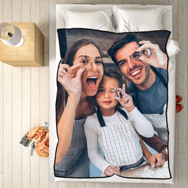 Personalized Fleece Blanket with Photo of Happy Family