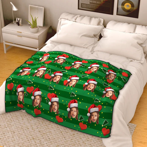 Christmas Heart Personalized Fleece Photo Blanket - Green
