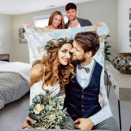 Custom Couple Photo Blanket Wedding Anniversary Blanket Valentine's Day Gift