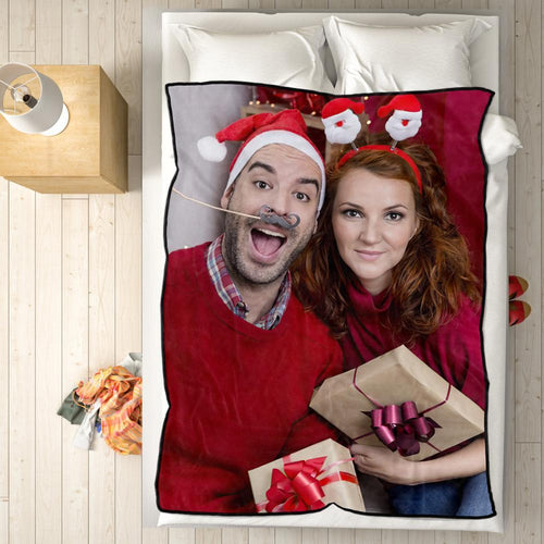Personalized Fleece Blanket with Photo of Couple Festival