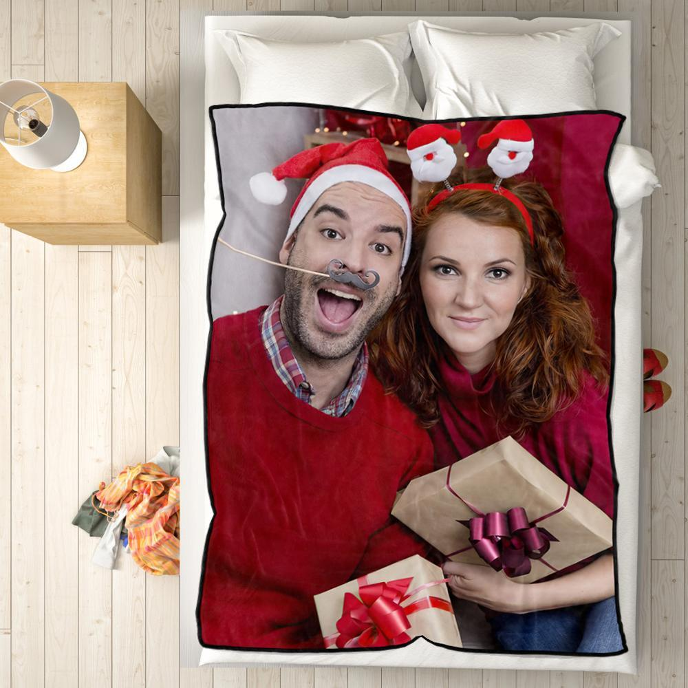 Personalized Fleece Blanket with Photo of Couple Christmas