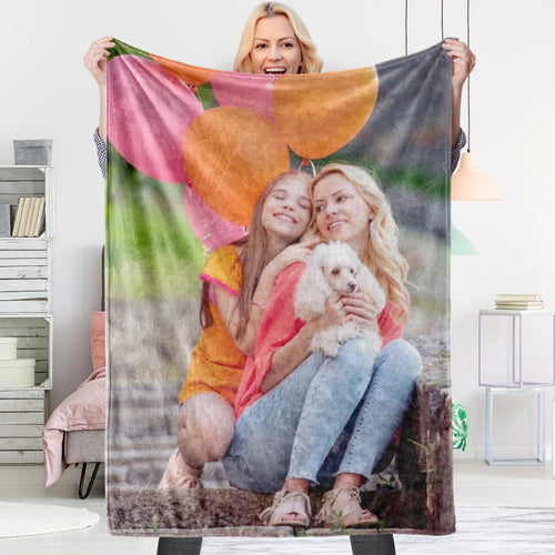 Personalized Fleece Blanket with Custom Photo Mother's day Gift