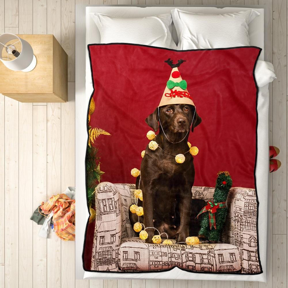 Personalized Fleece Blanket with Photo of Pet Dog Christmas