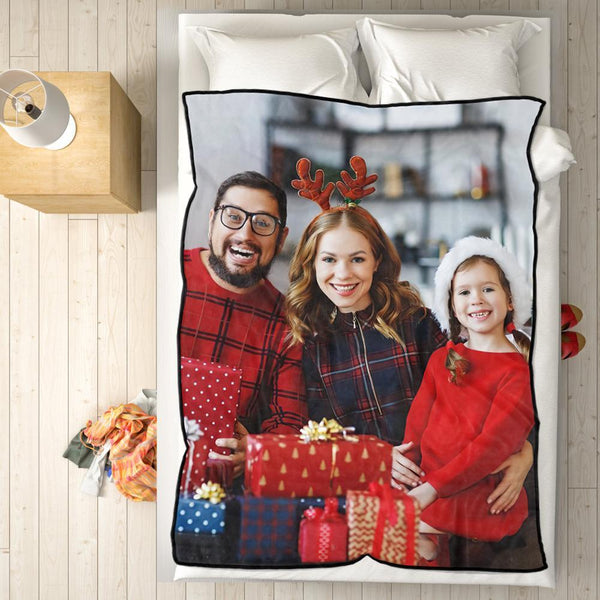 Personalized Fleece Blanket with Photo of Family Festival