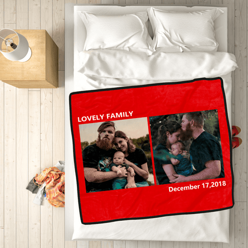 Family Love Personalized Fleece Photo Blanket with 2 Photos