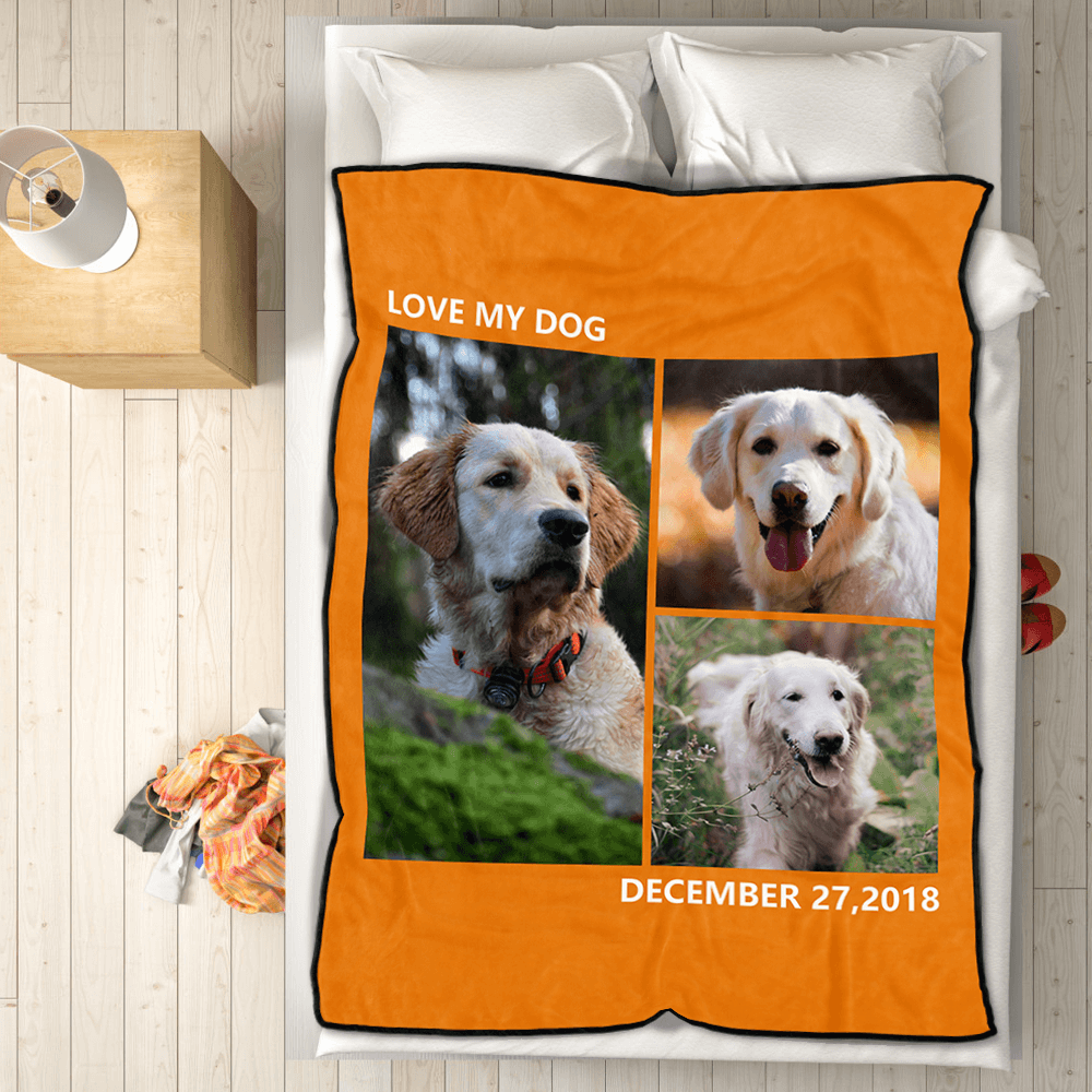 Personalized Pets Fleece Photo Blanket with 3 Photos