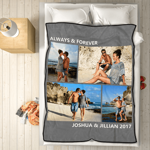 Custom Photo Fleece Blanket Love is All with 4 Photos 60x80