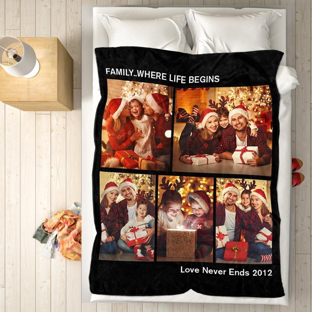 Personalized Family Fleece Photo Blanket with 5 Photos Christmas Gift