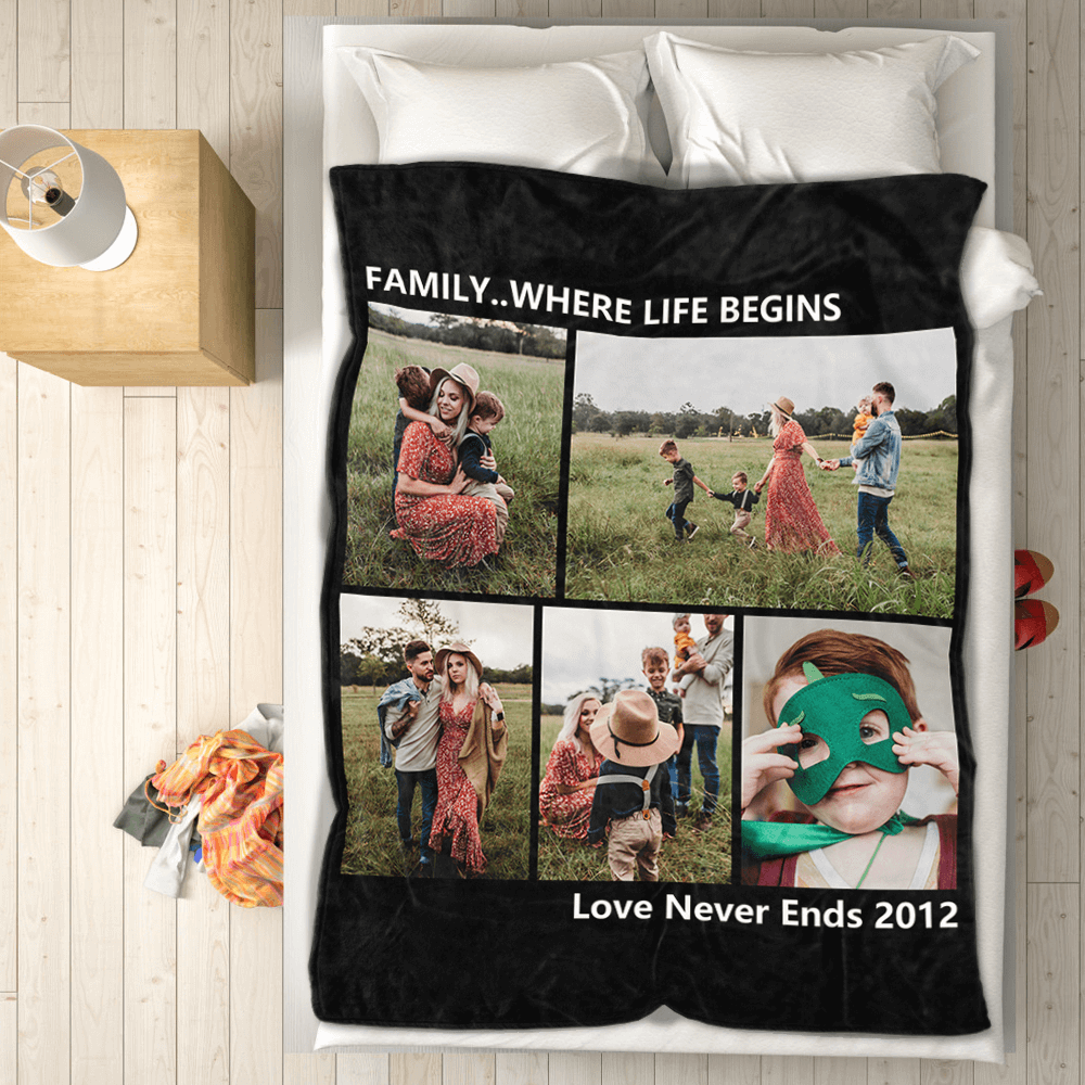 Custom Photo Fleece Collage Blanket Friends & Family with 5 Photos 50x60