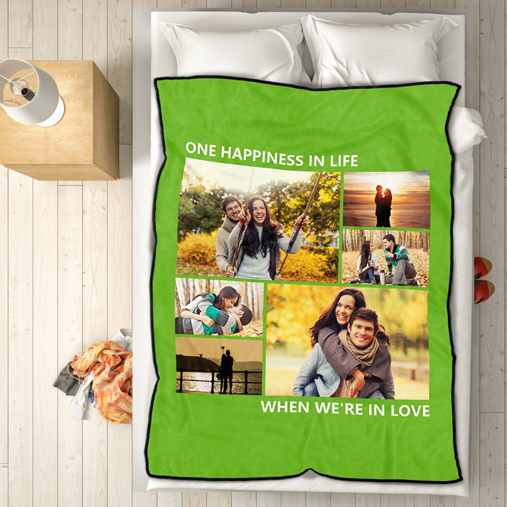 Personalized Love Fleece Photo Blanket with 6 Photos