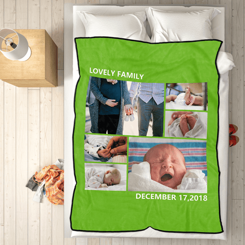 Family Love Personalized Fleece Photo Blanket with 6 Photos