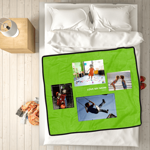 Custom Kids Fleece Photo Blanket with 4 Photos