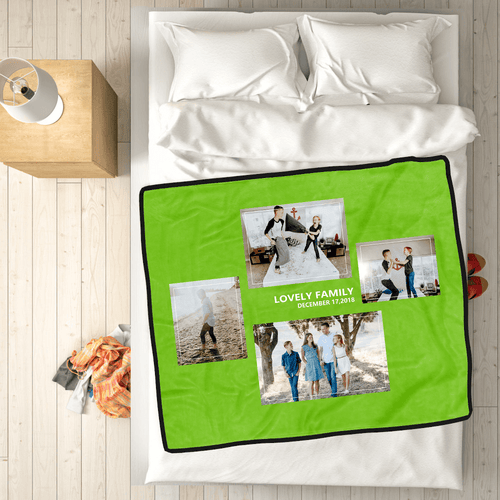 Family Love Custom Fleece Photo Blanket with 4 Photos