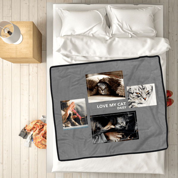 Custom Pets Fleece Photo Blanket with 4 Photos