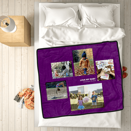 Custom Kids Fleece Photo Blanket with 5 Photos