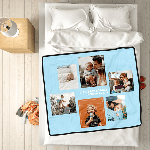 Family Love Custom Fleece Photo Blanket with 6 Photos