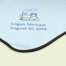 Children Name and Birth Date Personalized Blanket-Train