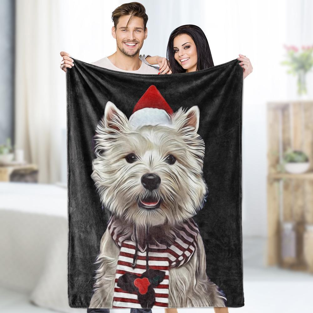 Custom Dog Blankets Personalized Pet Photo Blankets Painted Art Portrait Fleece Throw Blanket Festival Gift  For Him