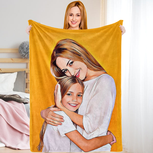 Personalized Photo Blankets Custom Painted Art Portrait Fleece Throw Blanket Mother's Day Gift