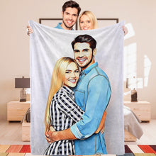 Personalized Photo Blankets Custom Painted Art Portrait Fleece Throw Blanket Best Gift for Couple