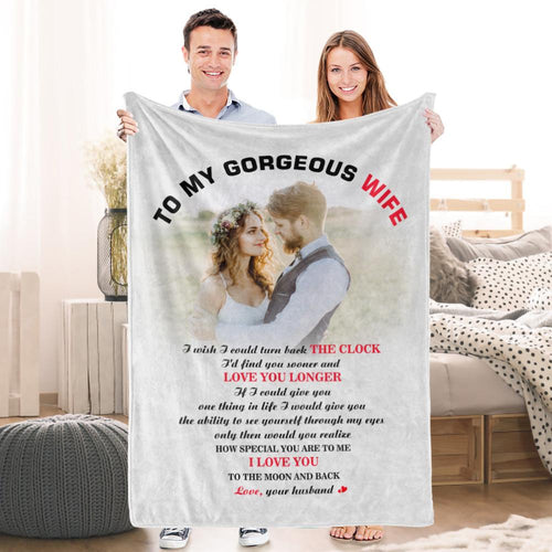 Valentine's Day To My Wife Custom Fleece Photo Blanket