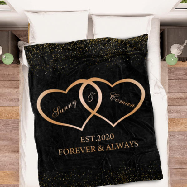 Personalized Fleece Name Love Forever Blanket Anniversary Creative Gift