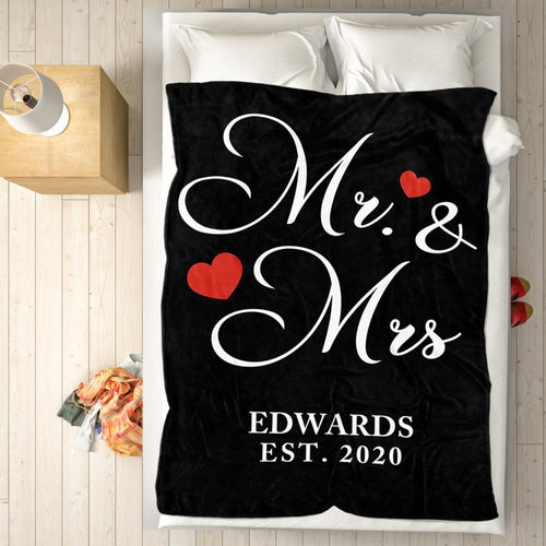 Personalized Name Blanket Fleece - Mr and Mrs Couple Blanket