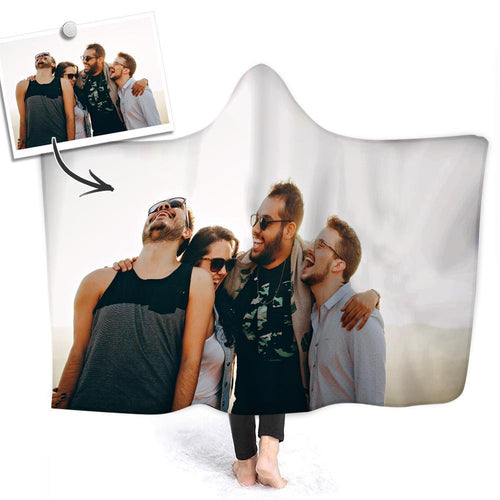 Custom Friends Photo Hooded Blanket Air Conditioning Blanket Wrap with Soft Flannel