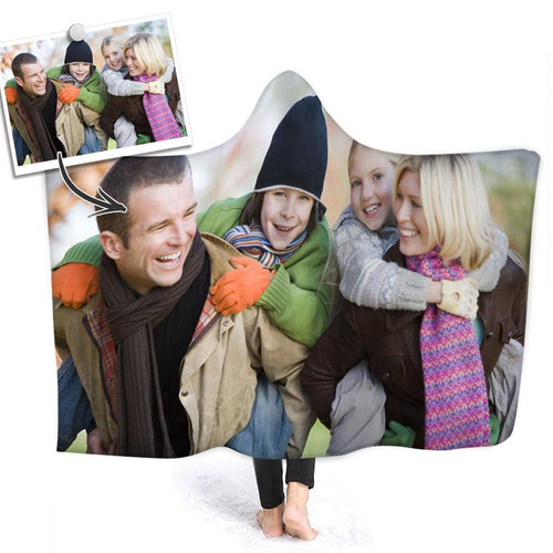 Custom Family Photo Hooded Blanket Air Conditioning Blanket Wrap with Soft Flannel