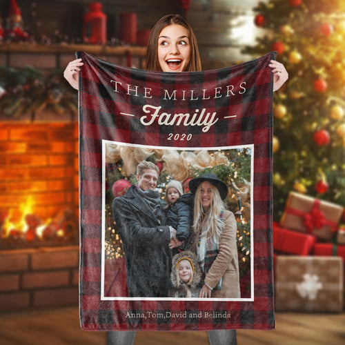 Custom Photo Blanket Family Personalized Name Picture Unique Baby Anniversary Festival Gift