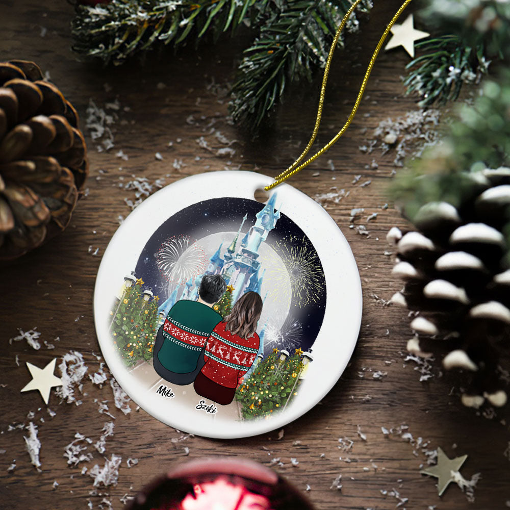 Custom Photo Christmas Tree Decor Personalized Ceramics Engraved Ornament Christmas Gift For Couple