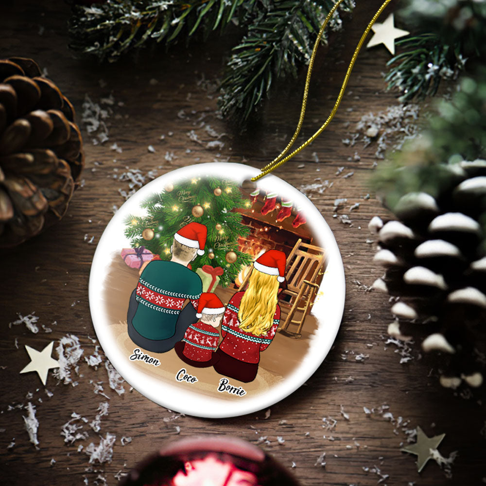 Custom Photo Christmas Tree Decor Personalized Ceramics Engraved Ornament Christmas Gift