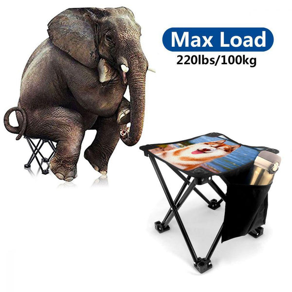 Custom Pet Photo Folding Camping Stool Portable Outdoor Mini Chair
