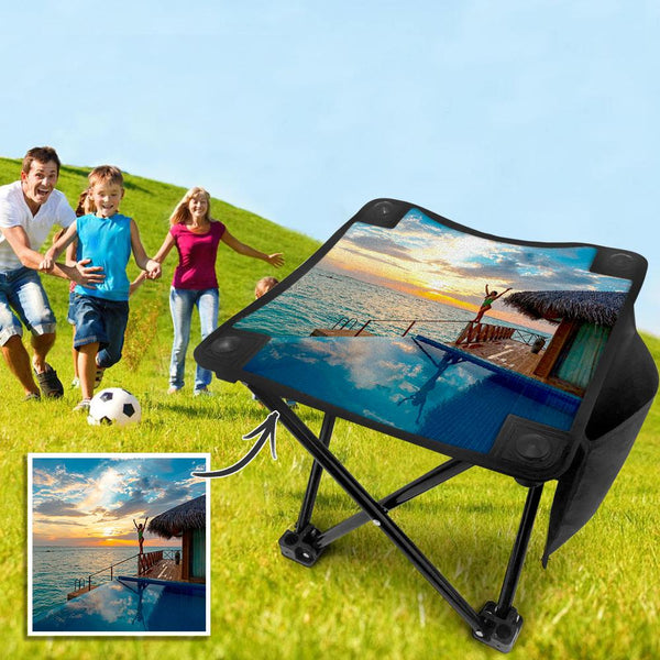 Custom Travel Photo Folding Camping Stool Portable Outdoor Mini Chair