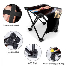 Custom Girl Photo Folding Camping Stool Portable Outdoor Mini Chair
